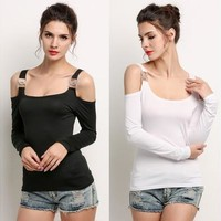 Women's Off Shoulder Long Sleeve Slim Tops| Blouse Shirt [8833595340]
