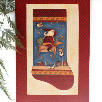 Christmas Stocking Wall Hanging, Quilted Santa Door Banner,  Red Blue Wall Quilt, Whimsical Country Decor, Reindeer Snowman, Handmade