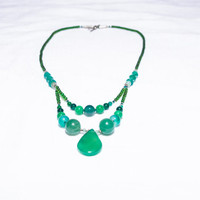 Jade - The Dream Stone Bright Sea-Green Jade With Silver Plated Beads