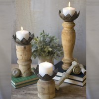 Recycled Wood Candle Stands w/metal Magnolia Cup (Set of 3)