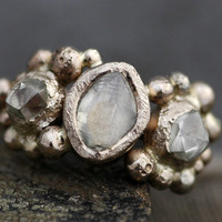 Rough Diamond Trio in Recycled Gold- Custom Made to Order Uncut Diamond Engagement Ring