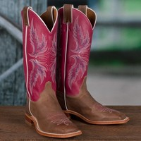 Justin Ladies' Tan and Pink Bent Rail Boots - Western - Women's - Boots