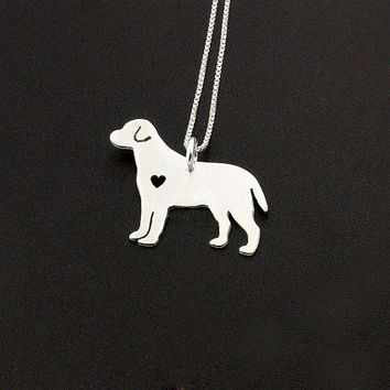 Labrador dog sterling silver necklace with heart cutout - Shiny Texture Finish - dog breeds pendant comes with Italian box chain