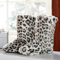 Faux Fur Booties, Grey Cheetah