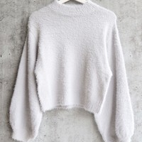 fuzzy high neck sweater with bishop sleeves - silver