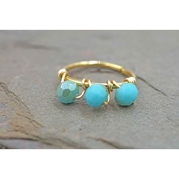 Turquoise Gold Beaded Cartilage Hoop Tragus Hoop Helix Hoop Earring
