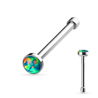 Green Opal Set Flat Top 316L Surgical Steel Nose Studs Nose Ring Body Piercing