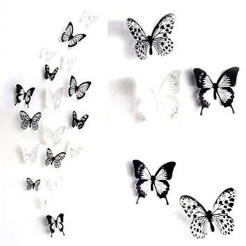 ElecMotive 36 PCS 3D Colorful Crystal Butterfly Wall Stickers with Adhesive Art Decal Satin Paper Butterflies Home DIY Decor Removable Sticker (Black-White) Black-White