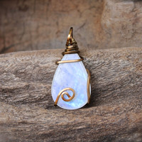 Natural Moonstone Necklace // Rainbow Moonstone Jewelry // Gypsy Boho Jewelry // Boho Gypsy Necklace // Wiccan Necklace // Wicca Jewelry