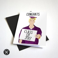 Congrats Class of 2017 - Sign with Graduation Cap and Regalia - A6 Graduation Card