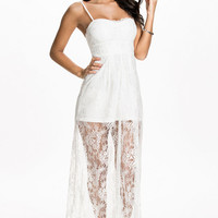 White Sleeveless Floral Lace Overlay Maxi Dress