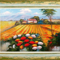 n2 Italian landscape enjoy and colors of Luigi Conte original oil on canvas + frame