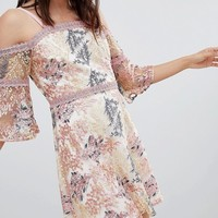 Dolly & Delicious All Over Embroidered Off Shoulder Mini Dress at asos.com