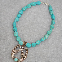 Turquoise Six Shooter Necklace and Earring Set