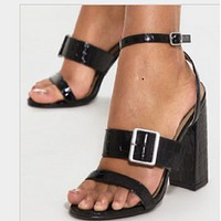 New stone print high heel chunky sandals shoes