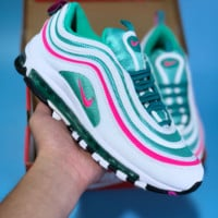 HCXX N434 Nike Air Max 97 Bullet Series Full Palm Air Cushion Sports Casual Running Shoes White Pink Green
