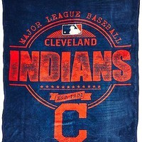 Cleveland Indians MLB BLanket Structure Micro-Raschel Throw Blue