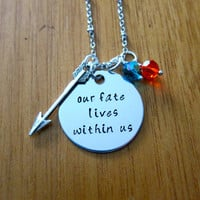 "Disney's ""Brave"" Inspired Necklace. Merida quote ""Our fate lives within us"". Silver colored, Swarovski crystals, for women or girls"