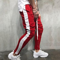 Casual Pants Men Hip Hop Skinny Trousers Track Bottom Sweatpants Streetwear Man Pant Side Stripe Fashion Mens Joggers Pants