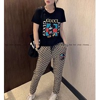 """Gucci"" Woman Leisure Fashion Letter Mickey Sequins Personality Printing Crew Neck Short Spell Color Sleeve Tops Grid Pattern Trousers Two-Piece Set Casual Wear Sportswear"