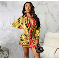 Fashionable printed shirt multicolor dress for women