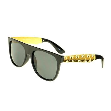 Unisex Flat Top Sunglasses Gold Metal Arms Leaf Print FT81