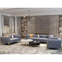 Exclusive French Style Button Tufted Fabric Sofa Set