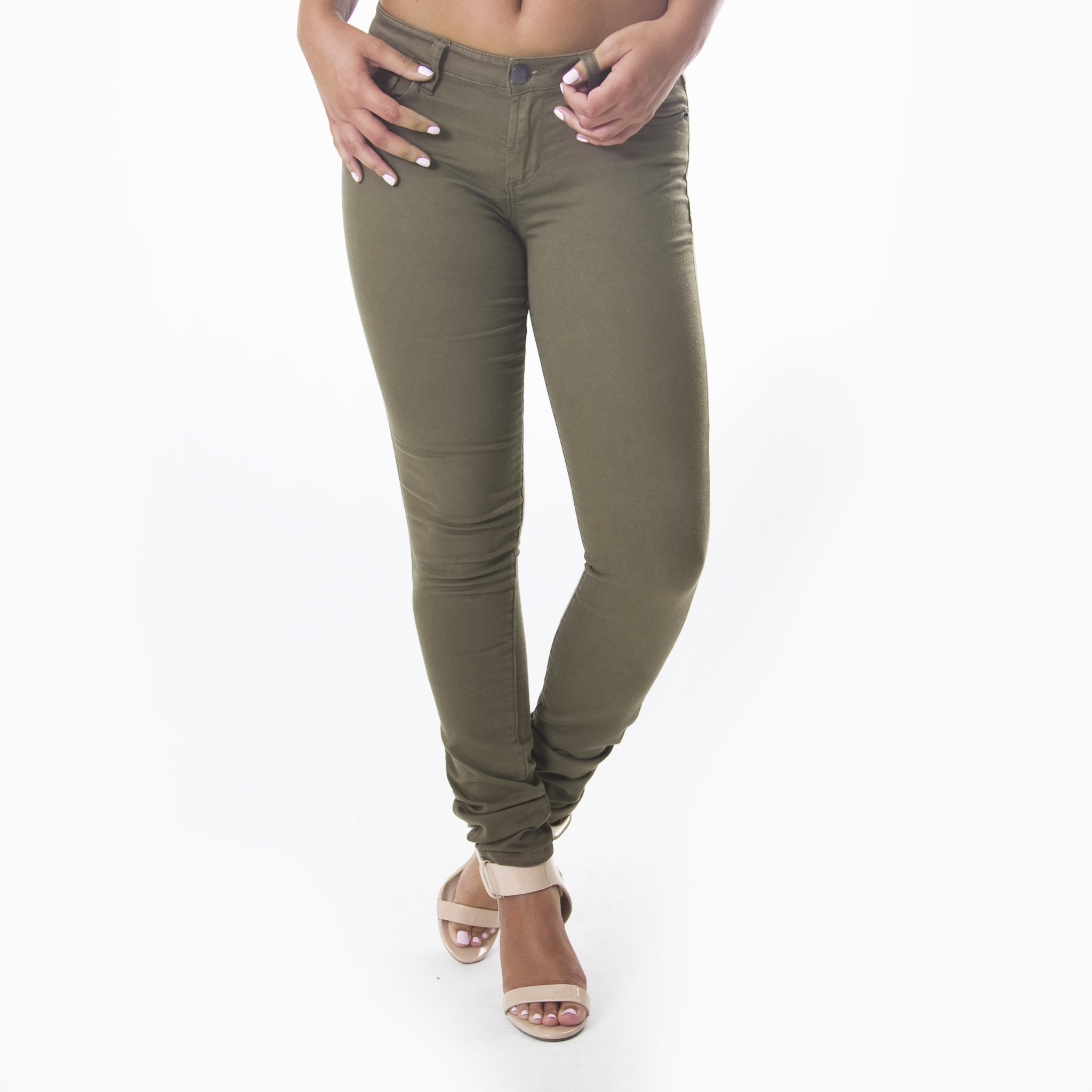 Image of Classic Skinny Pants In Olive