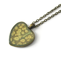 Metallic Gold Heart Pendant necklace with hints of sage green in antiqued bronze tone heart shape bezel, bridesmaid jewelry