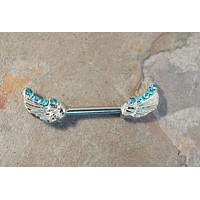 Blue Crystal Angel Wing Nipple Barbell Jewelry