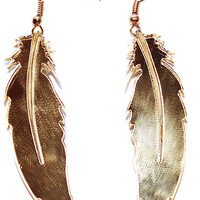 Gold Feather Dangle Earrings