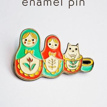Matryoshka Cat Pin - Russian Nesting Doll Enamel Pin by boygirlparty