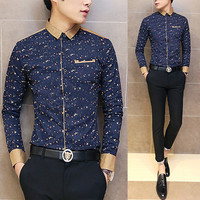 Slim Fit Men Fashion Print Dress Shirt