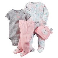 Carter's Snowflake Reindeer Sleep & Play Set - Baby Girl, Size: 3 MONTHS (Pink)