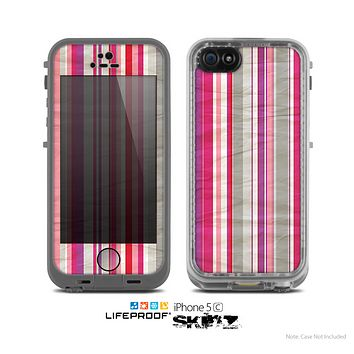 The Vintage Wrinkled Color Tall Stripes Skin for the Apple iPhone 5c LifeProof Case