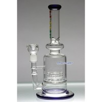 """Flame 11"""" Glass WaterPipe with Disc Percolator and Oil Accessories - Flame Glass Bongs - 74.99 US and Canada"""