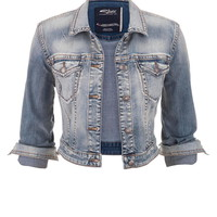 Silver Jeans ® Light Wash Cropped Denim Jacket - Light Sandblast