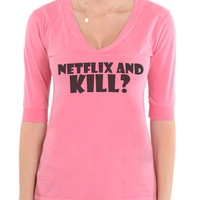 Netflix And Kill? - Football V-Neck Tee