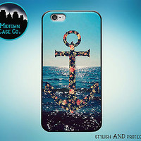 Anchor Floral Pattern Ocean Sunset Rubber Case for iPhone 7 6s 6 Plus 5s 5 5c SE