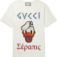 Gucci - + Disney Appliquéd Printed Cotton-Jersey T-Shirt