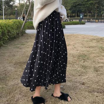 Print Polka Dot Black Bottom Mid-length Pleated Skirt