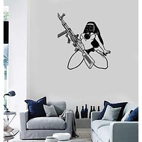Wall Stickers Vinyl Decal Sexy Nun Girl In Gas Mask With Machine Gun (z2119)