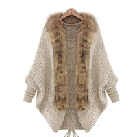 2015 Winter Open Cardigan Poncho Capes Pull Femme Autumn Outwear Tricot Women Knitted Wool Sweater Batwing Sleeve Shrug HW8569 (Size: L, Color: Beige) = 1946855684