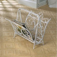 Vintage Style White Painted Cast Iron Magazine Rack