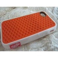 iPhone 5 Silicone Rubber Sole Vans ORANGE with White Side Waffle Case Cover for iPhone 5