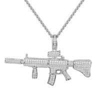 Men's Ak-47 Assault Gun Rifle Iced Out Pendant