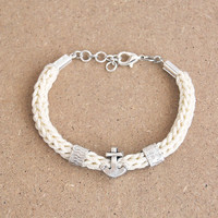 Anchor bracelet, knit bracelet with anchor and tubes, nautical cord bracelet, silver plated anchor
