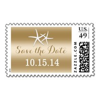 Starfish Gold Foil Save The Date Wedding