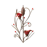 Red Delicate Tealight Candle Sconce