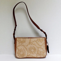 Vintage Relic Shoulder Purse, Beige Fabric and Faux Leather